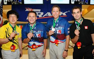 Singles medalists - Choi (KOR-Silver), O'Neill (USA-Gold), Barnes (USA-Bronze) and Barrett (ENG-Bronze)