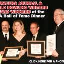 From the left: Luby Publishing Inc. President Keith Hamilton presents awards to Kelly Kulick, Norm Duke and Bill Vint.