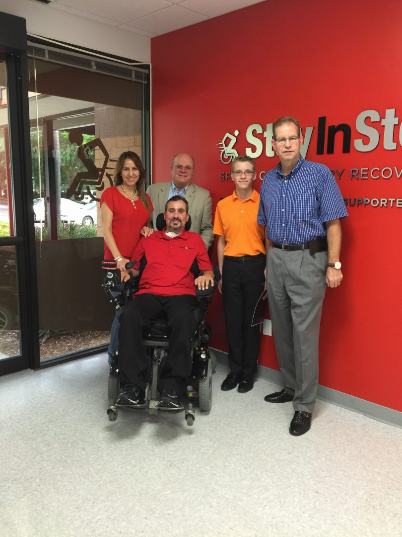"Daniel Bolan's first meeting with quadriplegic veteran Romy Camargo in August 2015, pictured here, inspired Daniel's ""Strikes for Vets"" initiative (Gabby Camargo, Lt. Gen. Marty Steele, Daniel and Chris Bolan, l-r, with Romy)."