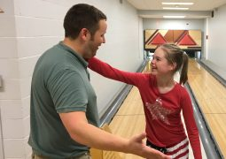 Magic Mountain: For Crotched Mountain School teachers such as Matt Nevins (with student Karly Erickson), bowling is a uniquely accommodating activity for special-needs children.