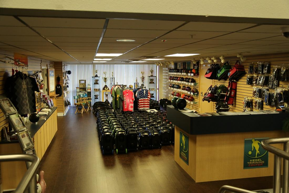 """The """"face lift"""" that Kegel CEO Chris Chartrand says the training center needed indlued discarding the carpeting in favor of wood flooring in the settee area as well as here in the pro shop."""