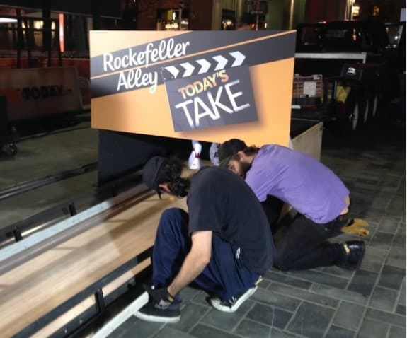 """The Today Show dubbed the bowling lane installed for this morning's episode """"Rockefeller Alley"""" after the show's location in Rockefeller Center in New York City."""