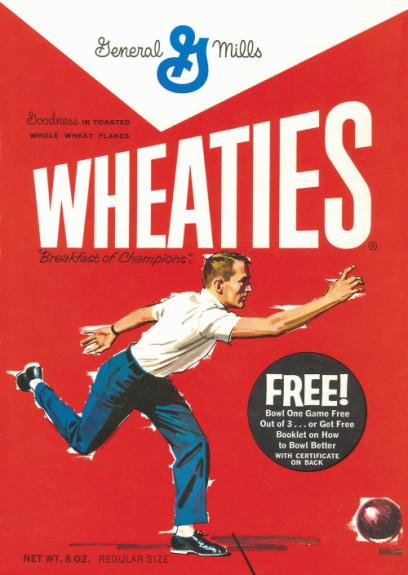 "In 1963, a ""generic"" bowler was featured on a Wheaties box cover."